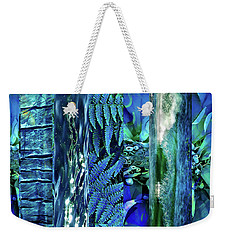 Weekender Tote Bag featuring the digital art Teal Abstract by Cindy Greenstein