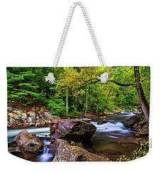 Weekender Tote Bag featuring the photograph Tellico River Serenity by Andy Crawford