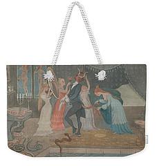 Weekender Tote Bag featuring the drawing The Bridegroom Dressed by Ivar Arosenius