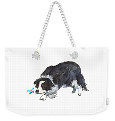 The Collie And Blue Butterfly Weekender Tote Bag