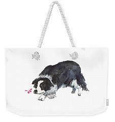 The Collie And Pink Butterfly Weekender Tote Bag