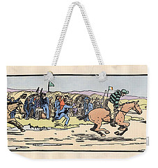 Weekender Tote Bag featuring the painting the Finishing post. Omey, by Val Byrne