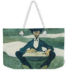 Weekender Tote Bag featuring the drawing The First Flower Of Spring. Portrait Of Ole Kruse by Ivar Arosenius