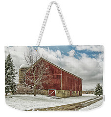 Weekender Tote Bag featuring the photograph The First Snow by Kim Hojnacki