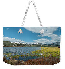 Weekender Tote Bag featuring the photograph The Gallitin Mountain Range  by Matthew Irvin