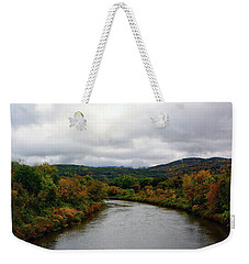 Weekender Tote Bag featuring the photograph The Housatonic River From A Bridge In Adams Ma by Raymond Salani III