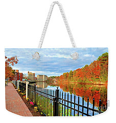 Weekender Tote Bag featuring the photograph The Lamprey River by Debbie Stahre