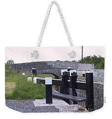Weekender Tote Bag featuring the painting The Locks At Cloondara, Co. Longford by Val Byrne