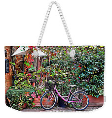 Weekender Tote Bag featuring the photograph The Pink Bicycle by Dorothy Berry-Lound