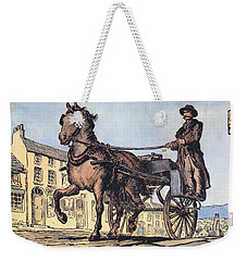 Weekender Tote Bag featuring the painting The Post Car, Clifden, Galway by Val Byrne