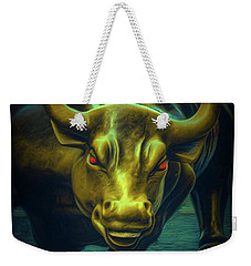 Weekender Tote Bag featuring the photograph The Raging Bull by Chris Lord