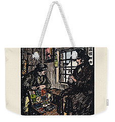 Weekender Tote Bag featuring the painting The Sales Man by Val Byrne