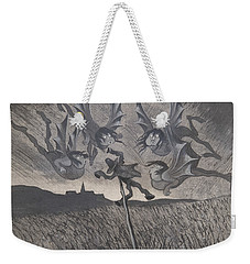 Weekender Tote Bag featuring the drawing The Scarecrow And The Four Winds by Ivar Arosenius