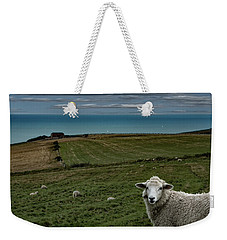 Weekender Tote Bag featuring the photograph The Sheep On The Clifftop by Chris Lord