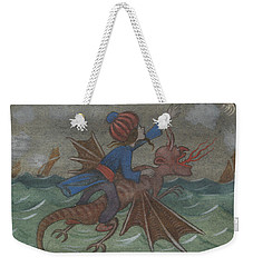 Weekender Tote Bag featuring the drawing The Wizard And Women's Bird by Ivar Arosenius