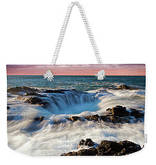 Weekender Tote Bag featuring the photograph Thor's Well Central Coast Oregon Sunset V4 by Rospotte Photography