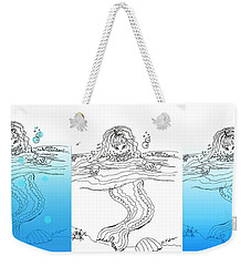 Three Mermaids All In A Row Weekender Tote Bag