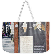 Weekender Tote Bag featuring the photograph Tomas Jefferson's Ice Cream Recipe At Rushmore Monument by Tatiana Travelways