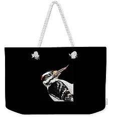 Weekender Tote Bag featuring the photograph Tongue Of Woodpecker by Debbie Stahre