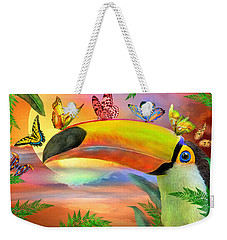 Weekender Tote Bag featuring the mixed media Toucan And Butterflies by Carol Cavalaris