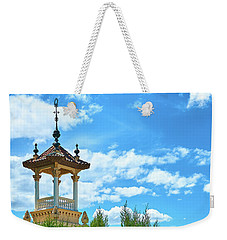 Weekender Tote Bag featuring the photograph Towers And Blue Sky From Montjuic In Barcelona by Eduardo Jose Accorinti