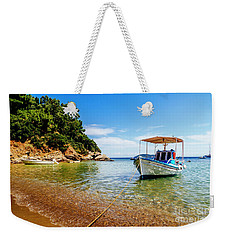 Traditional Colorful Boats In Old Town Of Skiathos Island, Spora Weekender Tote Bag