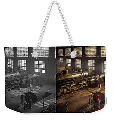 Weekender Tote Bag featuring the photograph Train - Repair - Third Door On The Right 1942 - Side By Side by Mike Savad