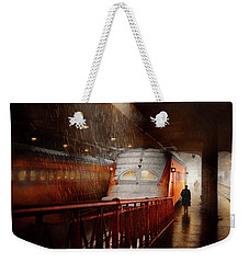 Weekender Tote Bag featuring the photograph Train - Retro - Last Train Of The Day 1943 by Mike Savad