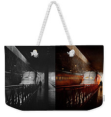 Weekender Tote Bag featuring the photograph Train - Retro - Last Train Of The Day 1943 - Side By Side by Mike Savad