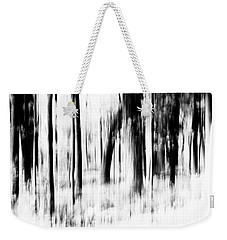 Weekender Tote Bag featuring the photograph Tree Abstract In Black And White by Angie Tirado