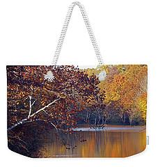 Weekender Tote Bag featuring the photograph Trees At The Water's Edge by Mike Murdock