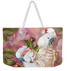 Weekender Tote Bag featuring the mixed media Tropic Spirits - Cockatoos by Carol Cavalaris