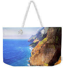 Weekender Tote Bag featuring the digital art Tropical Coastline Hawaii Aerial Photograph Of The Isolated Napali Coast by OLena Art Brand