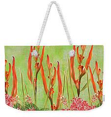 Tropical Floral Print Lime Green Batik Weekender Tote Bag
