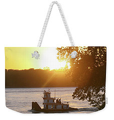 Weekender Tote Bag featuring the photograph Tugboat On Mississippi River by Christopher Meade