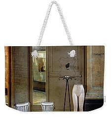 Weekender Tote Bag featuring the photograph Two Chairs, A Black Bird And Half A Nude by Craig J Satterlee