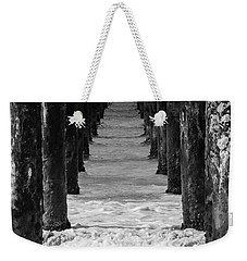 Weekender Tote Bag featuring the photograph Under The Pier #2 Bw by Stuart Manning