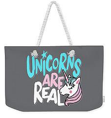 Unicorns Are Real - Baby Room Nursery Art Poster Print Weekender Tote Bag