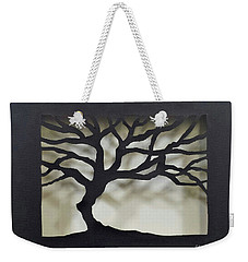 Weekender Tote Bag featuring the mixed media Until Leaves Fall by Phyllis Howard