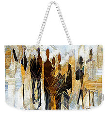 Weekender Tote Bag featuring the digital art Us - Neutral Colours by Pennie McCracken