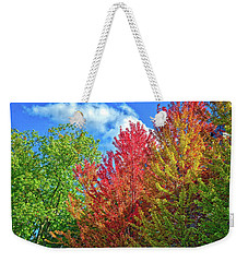 Weekender Tote Bag featuring the photograph Vibrant Autumn Hues At Cornell University - Ithaca, New York by Lynn Bauer