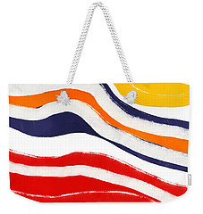 Weekender Tote Bag featuring the mixed media Vibrant Waves 2- Art By Linda Woods by Linda Woods