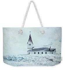 Vik I Myrdal Church In Snow Weekender Tote Bag