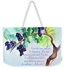 Vine And Branch With Scripture - Vertical Weekender Tote Bag