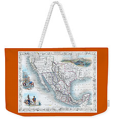 Vingage Map Of Texas, California And Mexico Weekender Tote Bag