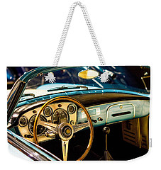 Weekender Tote Bag featuring the photograph Vintage Blue Car by Top Wallpapers