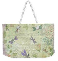 Vintage Botanical Illustrations And Dragonflies Weekender Tote Bag