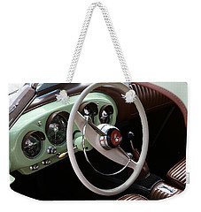 Weekender Tote Bag featuring the photograph Vintage Kaiser Darrin Automobile Interior by Debi Dalio