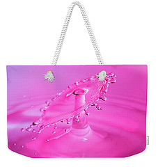 Weekender Tote Bag featuring the photograph Vivid Pink Water Drop Collision by SR Green