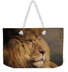 Weekender Tote Bag featuring the painting Wait For The Answer - Wildlife Art by Jordan Blackstone